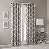 Grey Curtains For Living room, Modern Contemporary Window Curtains For Bedroom, Saratoga Print Fabric Grommet Window Curtains, 50X84, 1-Panel Pack