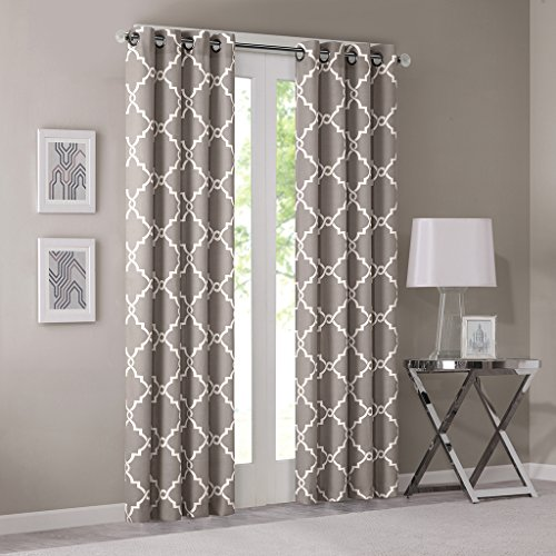 One Grommet - Madison Park Saratoga Room-Darkening Curtain Fretwork Print 1 Window Panel with Grommet Top Blackout Drapes for Bedroom and Dorm, 50x84, Grey