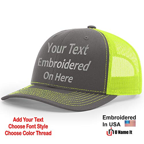 Custom Richardson 112 Hat with Your Text Embroidered Trucker Mesh Snapback Cap (Adjustable Snapback Split Colorway, Charcoal/Neon Yellow)