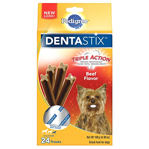 Pedigree Dentastix Beef Flavor Toy/Small Treats For Dogs - 6 Oz. 24 Treats (Pack Of 7)