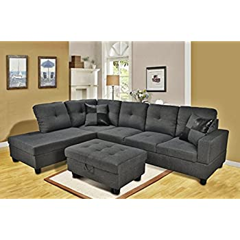 eternity home panama 3 seated left facing l shaped sectional sofa with ottoman dark grey
