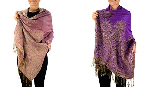 Peach Couture 27x72 Elegant Paisley Border Pattern Pashmina Shawl Scarf (Pink/Purple 2 Pack)