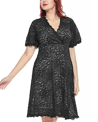 Women's Plus Size Flutter Sleeve V-Neckline Lace Flared Cocktail Party Dress Black (Flutter Sleeve Empire Top)