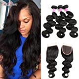 Brazilian Body Wave With Closure 18 20 22 and 16 inch 100% Unprocessed Brazilian Virgin Human Hair 3 Bundles With Lace Closure Brazilian Body Wave Natrual Black Hair Review