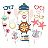 Toshine Nautical Photo Booth Props Kit DIY Photo booth for Wedding, Birthday Party or Hollywood Party Fun Accessories, Reusable, 20 Pieces