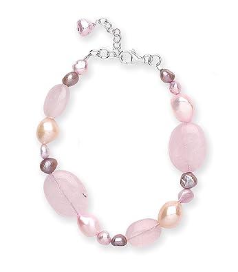 Goldmajor Sterling Silver, Pink Rose Quartz and Pink Freshwater Pearls Bracelet of 19.5cm with 3.5cm Extender
