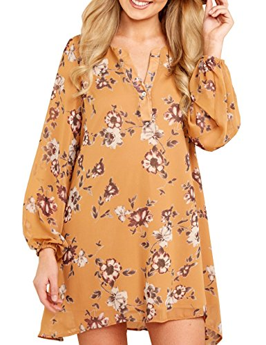 CILKOO Womens Loose Tunic Casual V Neck Long Sleeve Puff Sleeve Beach Chiffon Floral Shift Dress Yellow US4-6 Small