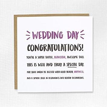 Wedding Day Glückwunsch Karte Ehe Paar Just Married Braut