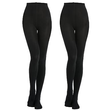 24ccfecd7d18da MANZI 2 Pairs 400D Women's Black Thermal Warm Winter Fleece Tights ...