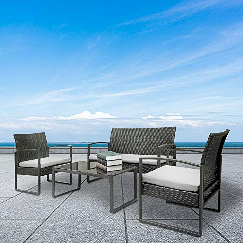 (Rungfa New Patio Wicker Furniture Outdoor 4pc Rattan Sofa Garden Conversation Set)