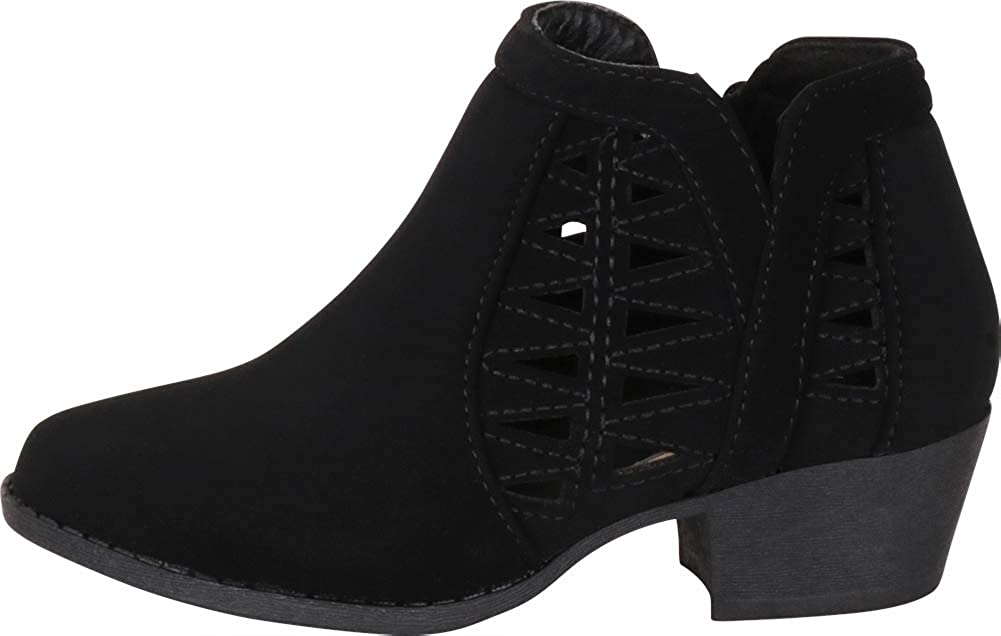 Cambridge Select Girls Western Geometric Cutout Low Block Heel Ankle Bootie Toddler//Little Kid//Big Kid