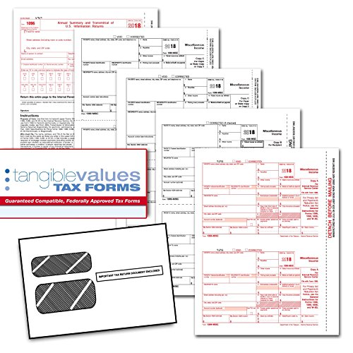 Tangible Values 1099 Misc Laser Forms (4-Part) Kit with Env for 25 Vendors + 3 Form 1096's (2018) by Tangible Values