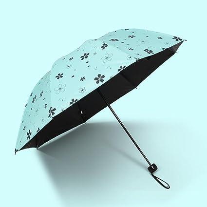 BiuTeFang Paraguas Paraguas de vinilo protección UV paraguas sombrillas plegables sombrillas 64x92cm