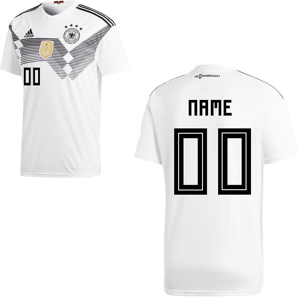 Adidas Camiseta de la selección alemana de fútbol, primera equipación, modelo del mundial de 2018, con nombre de jugador, para adulto y niño, Ihr Wunschname, 140: Amazon.es: Deportes y aire libre