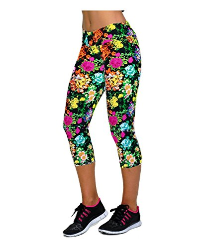 Ancia Womens Yoga Active Fitness Capri Leggings Gym Tights
