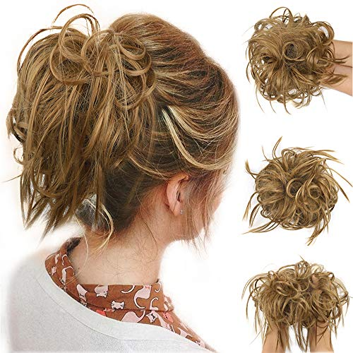 Tousled Updo Messy Bun Hair Piece Scrunchies Synthetic Wavy Bun Extensions Rubber Band Elastic Scrunchie Chignon Instant Ponytail Hairpiece for Women 27# Golden Brown