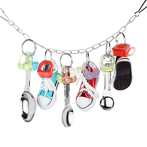 Bvanki Parrot Spoon Sneaker Toy, Bird Cage Swing Toy, Parrot Hanging Chewing Toys for Entertaining African Grey, Amazon Conure, Cockatoo and Macaw, Cockatiel ()
