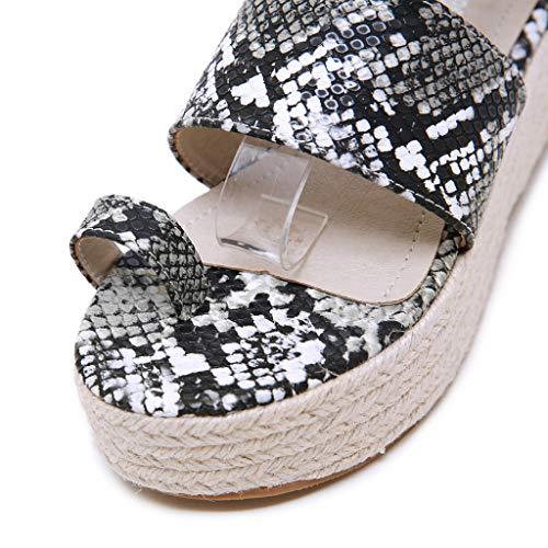 2019 Sharemen Casual Sandals Roman Shoes Straps Wedge Shoes Leopard Toe Thick Platform Women's Shoes(Black,US: 5) by Sharemen Shoes (Image #4)