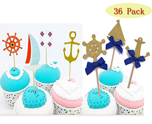 (set of 36)Ahoy - Nautical - Nautical Baby girl /Boy Shower Theme Cupcake Picks Decoration (Sailboat Baby Shower)