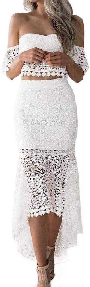 فستان نسائي من Zimaes بقصة مرتفعة الخصر ومنحنية بدون ظهر من الدانتيل مقصوص الحواف