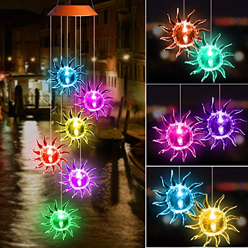 SIX FOXES Solar Wind Chime Outdoor, Crystal Wind Chime with Color Changing LED Light, Waterproof Hanging Decorative Mobile Lamp for Home Yard Patio Garden, Gifts for Mom -