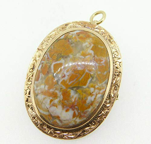 (10k Gold Oval Genuine Natural Agate Pin/Pendant Hand Engraved (#J4308))