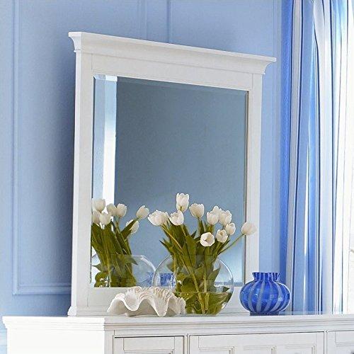 Magnussenb1475 Kentwood Painted White Finish with Brushed Nickel Hardware Wood Framed Landscape Mirror