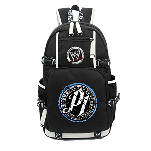 YOURNELO Boy's Cool Canvas WWE Shoulder Bag School Backpack Bookbag (P1 Black) by YOURNELO