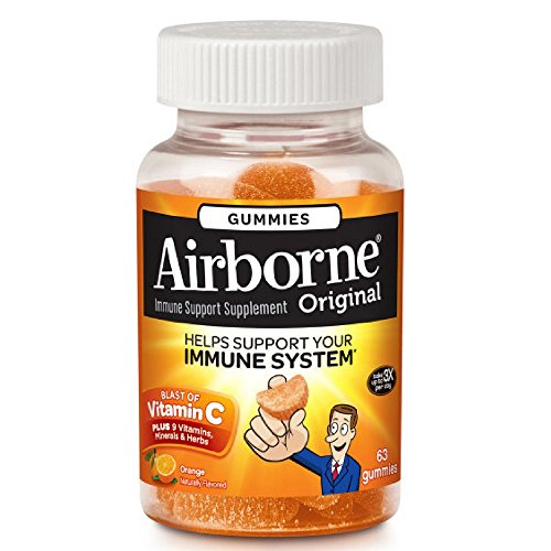 Airborne Orange Flavored Gummies, 63 count - 1000mg of Vitamin C and Minerals & Herbs Immune Support