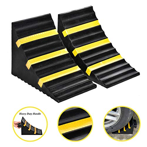 Cozylifeunion 2 Pack Extra Large Heavy Duty Wheel Chock Block with Handle Black Rubber 10