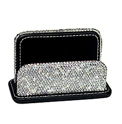 Silver Bling Rhinestones Stainless Steel Business Card Case