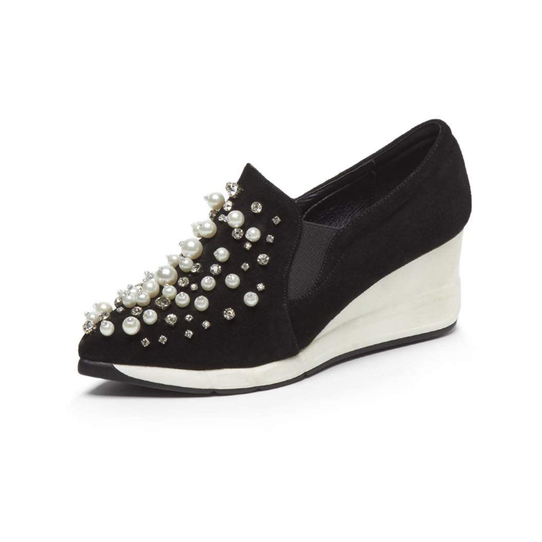 Womens High Heel Wedges Sneakers Beading Pointed Toe Slip on Shoes Wear-Resistant Fashion Booties
