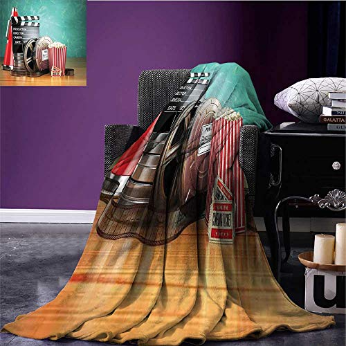 (RenteriaDecor Movie Theater Digital Printing Blanket Production Theme 3D Film Reels Clapperboard Tickets Popcorn and Megaphone Soft Blanket Microfiber Multicolor Bed or Couch 50