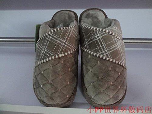 Fankou cotone e soggiorno invernale home anti-slip di cotone spessa pantofole più un paio di cotone spessa pantofole ,34-35, rosa