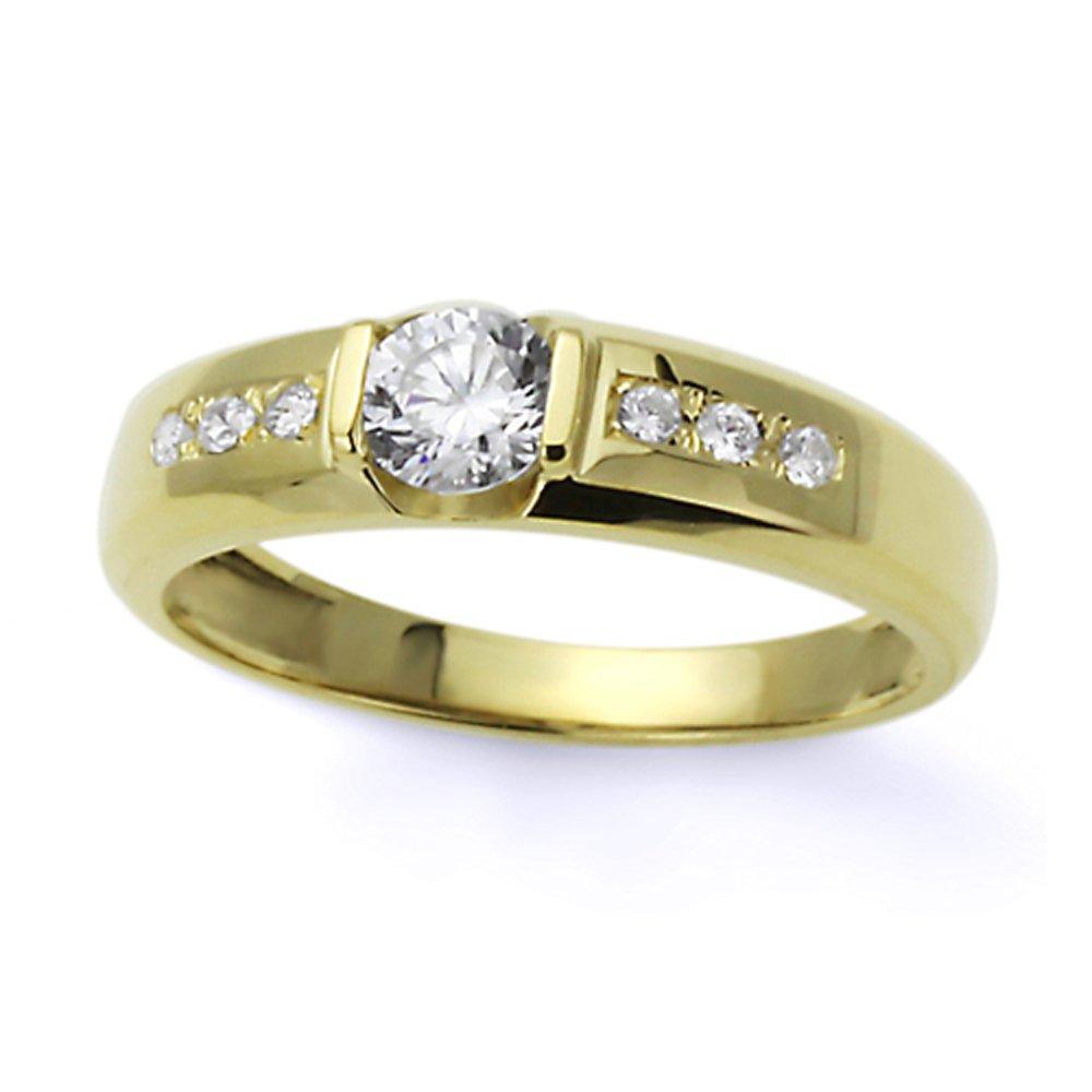 Pequeños Tesoros - Anillo de mujer - de oro amarillo (14k) Boda y de Compromiso Circonita Siete Piedras Anillo De Matrimonio: Amazon.es: Joyería