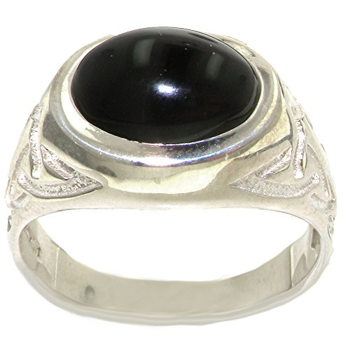 Solid 925 Sterling Silver Real Genuine Onyx Mens Gents Signet Anniversary Ring - Size 13 - Size 13 ()