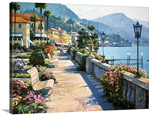 GREATBIGCANVAS Bellagio Promenade Canvas Wall Art Print