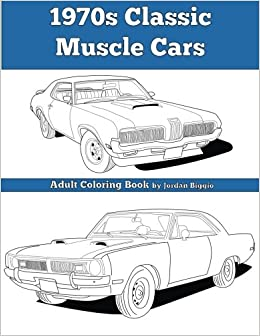 1970s Classic Muscle Cars: Adult Coloring Book