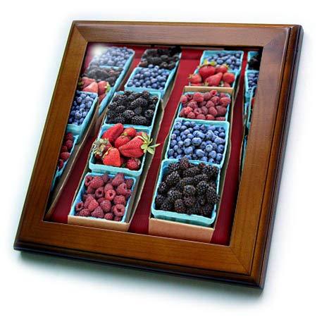(3dRose Danita Delimont - Food - USA, Oregon, Portland. Display of Berries at Farmers Market. - 8x8 Framed Tile (ft_314972_1))