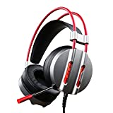 ET Robot Gaming Headset with Mic Noise Reduction Game Earphone 7.1 Surround Sound Red LED Lighting (Space Grey)