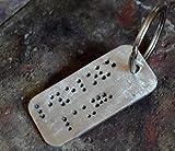 CUSTOM BRAILLE keychain,sterling silver,personalized,anniversary,fathers gift,husband,boyfriend,men,gift,wide wedding gift,birthday,hadmade