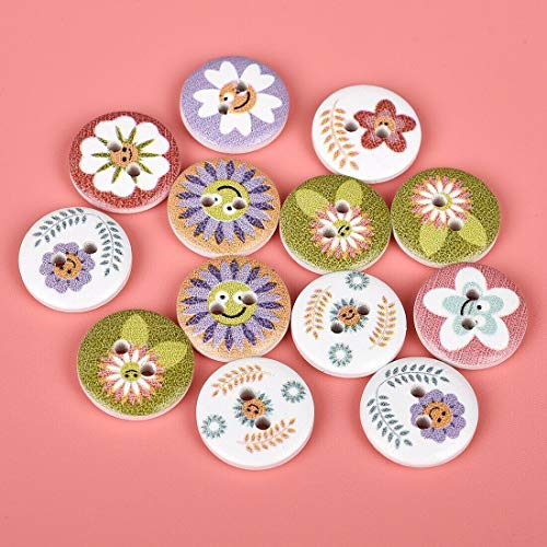 Badge Billet (50Pcs Round Mixed Color Buttons Animal Emoji Wooden 2-Holes Flatback Buttons (Buttons-Pattern - Flower))