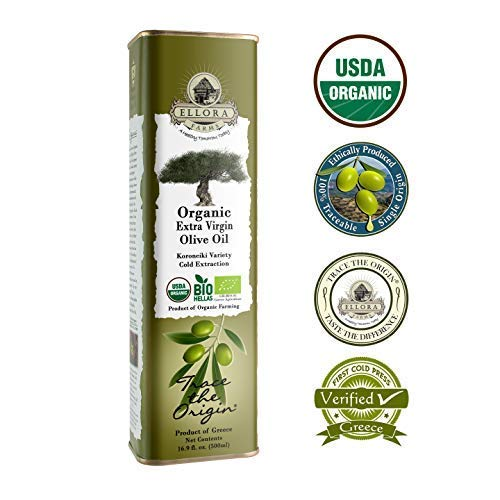 Ellora Farms | USDA Organic 100% Greek Extra Virgin Olive Oil | Koroneiki Variety Olives | Single Origin & Traceable | 17 oz BPA Free Tin