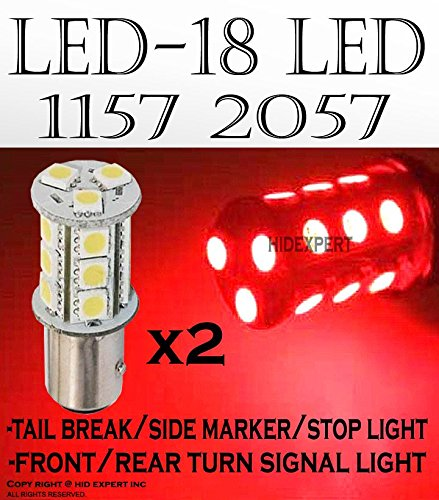 (ICBEAMER 2 pcs BAY15d 1034 1157 1158 1493 2057 2357 18 LED 5050 SMDs Chips Replace Halogen Light Bulbs [Color: Red])