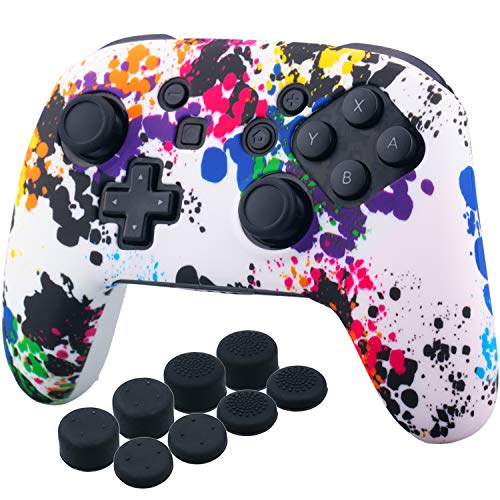 YoRHa Studded Silicone Transfer Print Cover Skin Case ONLY for Nitendo OFFICIAL Switch Pro Controller x 1(Graffiti) With Pro Thumb Grips x 8 (Prints Cover)