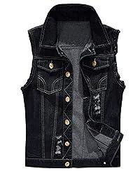 HomeToy Unisex Casual Plus Size Sleeveless Denim Slim Vest Waistcoat