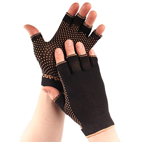 Copper D 1 Pair Black Copper Rayon from Bamboo Copper Compression Gloves for Relief from Injuries, Arthritis, and more or Comfort Support for Every Day Uses, Small Medium by BambooMN