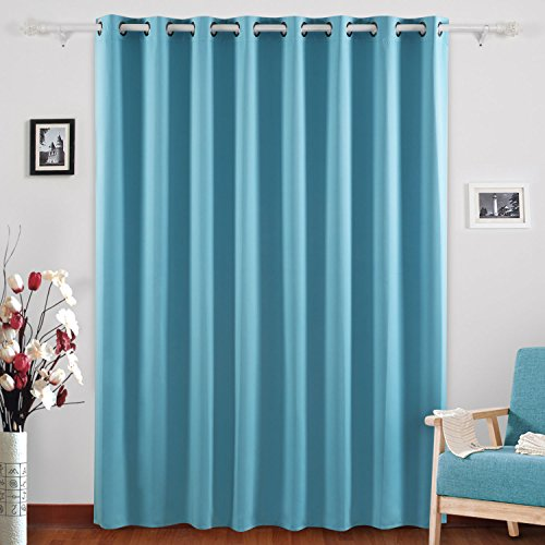 Deconovo Blackout Curtains Grommet Blind Curtain Wide Curtains for Living Room 80 x 84 Inch Teal One Panel - Teal Window Panel