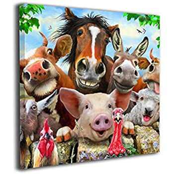 HIBIPPO Farm Animals Selfie Canvas Wall Art Wall Artworks Pictures Home Decorations for Bathroom Kitchen 20