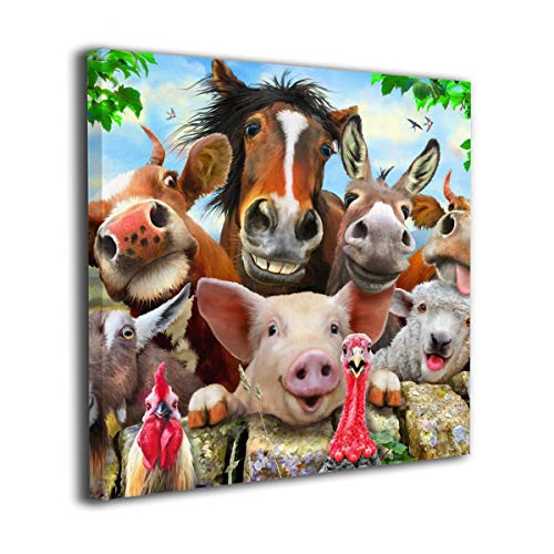 """HIBIPPO Farm Animals Selfie Canvas Wall Art Wall Artworks Pictures Home Decorations for Bathroom Kitchen 20""""x20"""" Ready to Hang"""